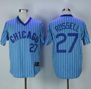 Cubs #27 Addison Russell Blue(White Strip) Cooperstown Throwback Stitched MLB Jersey