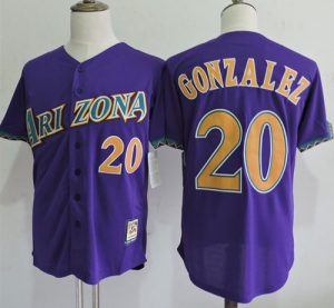 Mitchell And Ness Diamondbacks #20 Luis Gonzalez Purple Throwback Stitched MLB Jersey