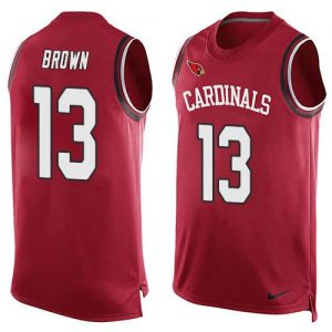 Nike Cardinals #13 Jaron Brown Red Team Color Men's Stitched NFL Limited Tank Top Jersey