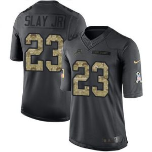 Nike Lions #23 Darius Slay JR Black Men's Stitched NFL Limited 2016 Salute To Service Jersey