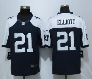 Nike Cowboys #21 Ezekiel Elliott Navy Blue Thanksgiving Throwback Men's Stitched NFL Limited Jersey