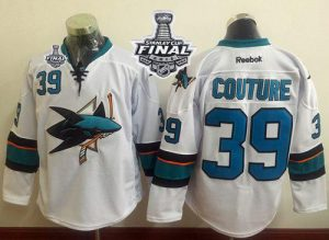 Sharks #39 Logan Couture White 2016 Stanley Cup Final Patch Stitched NHL Jersey