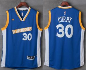 Warriors #30 Stephen Curry Royal Stretch Crossover Stitched NBA Jersey