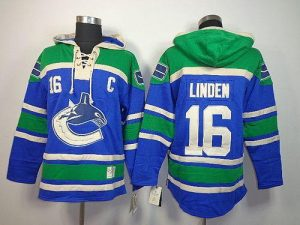 Canucks #16 Trevor Linden Blue Sawyer Hooded Sweatshirt Stitched NHL Jersey