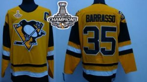 Mitchell&Ness Penguins #35 Tom Barrasso Yellow 2016 Stanley Cup Champions Stitched NHL Jersey