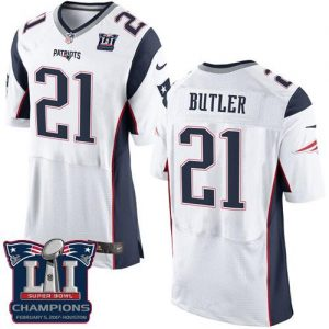 Nike Patriots #21 Malcolm Butler White Super Bowl LI Champions Men's Stitched NFL New Elite Jersey