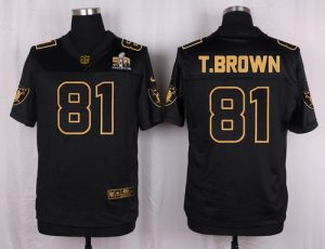 Nike Raiders #81 Tim Brown Black Men's Stitched NFL Elite Pro Line Gold Collection Jersey