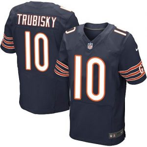 Nike Bears #10 Mitchell Trubisky Navy Blue Team Color Men's Stitched NFL Elite Jersey