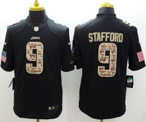 Nike Lions #9 Matthew Stafford Black Men's Stitched NFL Limited Salute to Service Jersey