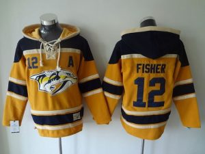 Predators #12 Mike Fisher Yellow Sawyer Hooded Sweatshirt Stitched NHL Jersey