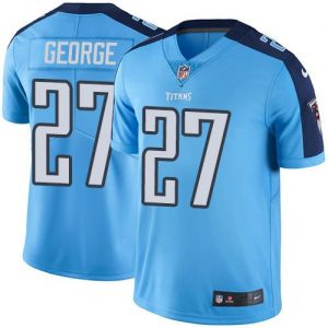 Nike Titans #27 Eddie George Light Blue Team Color Men's Stitched NFL Vapor Untouchable Limited Jersey