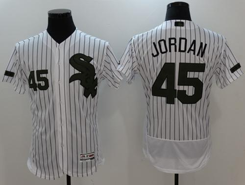 wholesale dealer fd6ea 60589 White Sox #45 Michael Jordan White(Black Strip) Flexbase ...