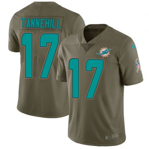 Nike Dolphins #17 Ryan Tannehill Olive Men's Stitched NFL Limited 2017 Salute to Service Jersey